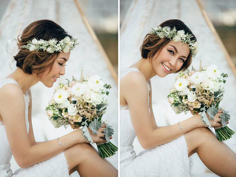 Gợi ý một số kiểu làm tóc dành cho cô dâu tóc ngắn